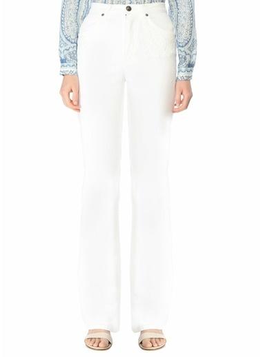 Etro Etro  Normal Bel Etnik Desen Detaylı Jean Pantolon 101617939 Beyaz